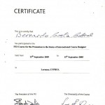 Participation Certificate FEI Course for the promotion in the status of International Course Designer